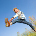Happy jumping boy — Stock Photo