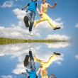 Girl and boy jumping. Soft focus. Focus on eyes. — Stock Photo
