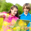 Two Smiling teenagers with laptop on meadow full of yellow flowe — Stock Photo #4711652