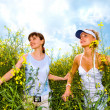 Two beautiful girl in white clothes go to the yellow flowers — 图库照片