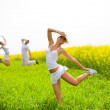 Happy is jumping in field — Stock Photo #4711896