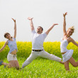 Happy is jumping in field — Stock Photo #4711914