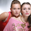 Two beautiful young woman. Soft focus. In studio. — Stock Photo #4711968