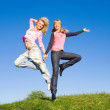 Two happy girls jumping on green meadow. — Stok fotoğraf #4712400