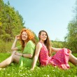 Funny mother and daughter sitting on green grass — Stock Photo #4713052