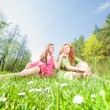 Funny mother and daughter sitting on green grass — Stock Photo #4713056