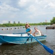 Mom and Daughter in boat — Stock Photo