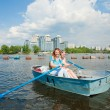 Mom and Daughter in boat - Stock Photo
