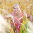 Stock Photo: Little girl in a wheat field. Against backdrop of cloudy skies