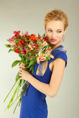 Portrait Beautiful girl with flower — Stock Photo