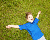 Happy boy enjoy on the meadow — Foto Stock