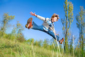 Happy jumping boy — Foto Stock