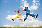 Teens jumping. focus eyes. — Stock Photo