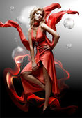 Luxury beautiful young fantasy woman in red dress — Stock Photo