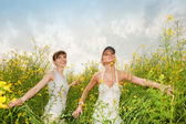 Two happy young women in field — Stock Photo