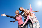 Happy funny jumping end fly in blue sky — Stock Photo