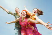 Mom and two Daughter Having Fun — Stock Photo