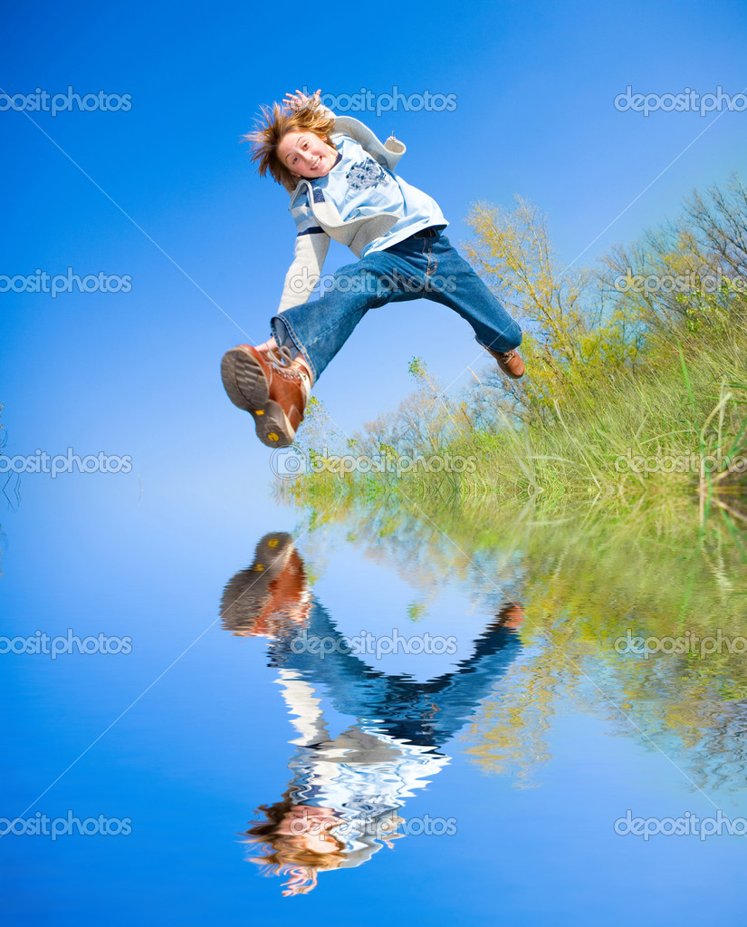 Happy jumping boy — Stock Photo #4711530