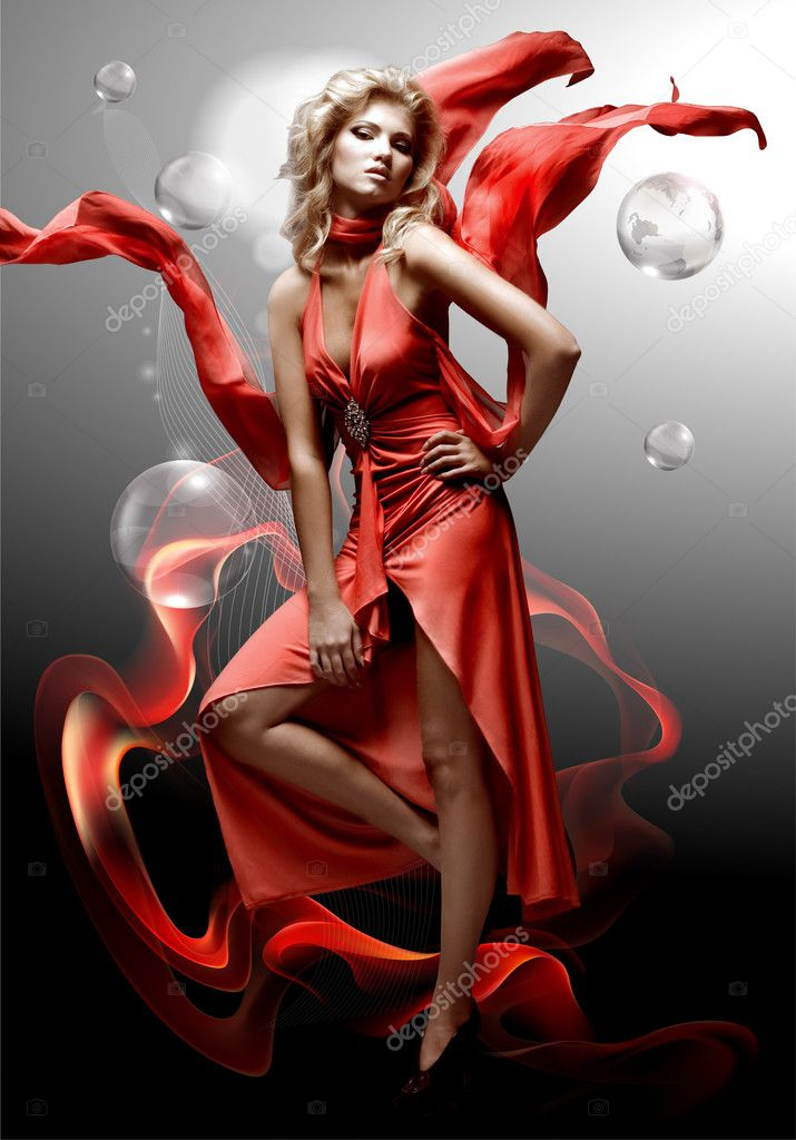 Luxury beautiful young fantasy woman in red dress  Stock fotografie #4711853