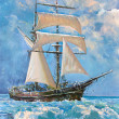 Stock Photo: Drawing of boat is under sail, painting