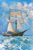 Drawing of boat is under sail, painting — Stock Photo