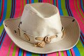 Cowboy hat on beach mat — Стоковое фото