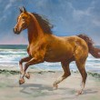 Chestnut horse, fragment of painting - Stock Photo