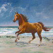 Royalty-Free Stock Photo: Chestnut horse, painting