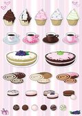 Set of desserts, sweetnesses and baking — Stock Vector