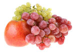 Grapes clusters and apple. — Stock Photo