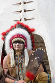 North American Indian in full dress. — Stock Photo