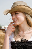 Beautiful girl in style of the country — Stock Photo