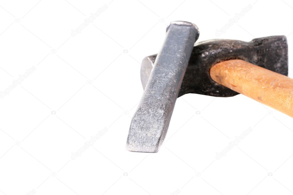Chisel and hammer on the wooden handle for work with firm surfaces. — Stock Photo #2808064