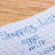 Shoping list — Stock Photo