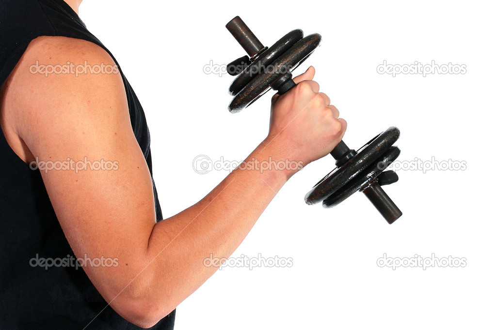 The beginning sportsman, the first steps in employment with dumbbells. — Stock Photo #3158212