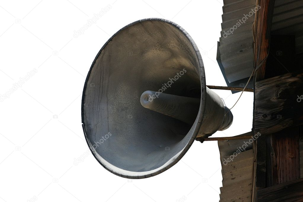 The old megaphone is fixed on a house roof. — Stock Photo #3435475