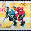 Poland - CIRCA 1968: A stamp Grenoble - Hockey — Stock Photo