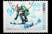 Poland - CIRCA 1968: A stamp Mountain skiing — Stock Photo