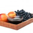 Peach, honey and blueberry - Stock Photo