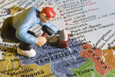 Figure of a person on the map of Venezuela. — Stock Photo