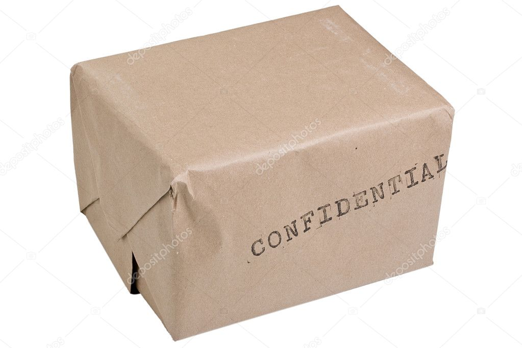 Brown confidential box isolated on a white background. — Stock Photo #3777397