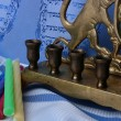 Menorah and candles — Stock Photo