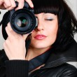 Woman with photocamera — Stock Photo #3202961