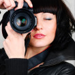 Woman with photocamera — Stock Photo