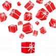 Flying red gift boxes — Stock Photo #3202971
