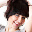 Beautiful woman shakes her hair, isolated on wh — Stock Photo