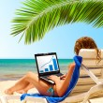 Sexy woman works near the sea — Stock Photo