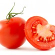 Two tomatoes isolated on white — Stock Photo