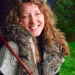 傘を持つ美しい女性 — ストック写真