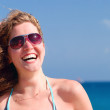 Happy beautiful woman on sea — Stock Photo #3203680